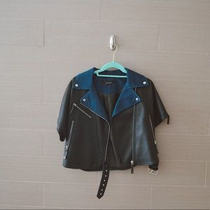 Denim and Leather Cropped Jacket